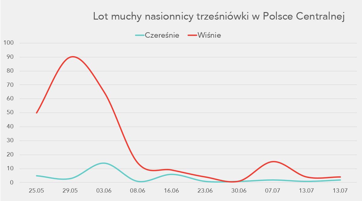 Lot muchy nasionnicy trześniówki w Polsce Centralnej - wykres